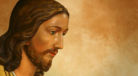 religion catolica: Jesús de Nazaret sobre el fondo del grunge con el espacio de la copia