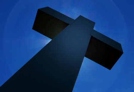 cross: Cross silhouette and the holy dark blue sky Stock Photo