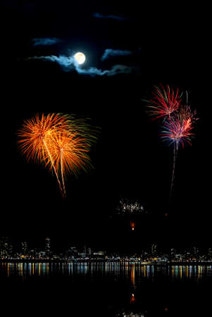 aerial bomb: National event or New Year with multi-colored fireworks Stock Photo