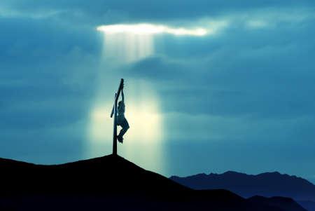 Jesus Christ Son of God over blue sky background