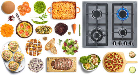 lit collection: Collection of fresh and cooked food on white background with stove top view Stock Photo
