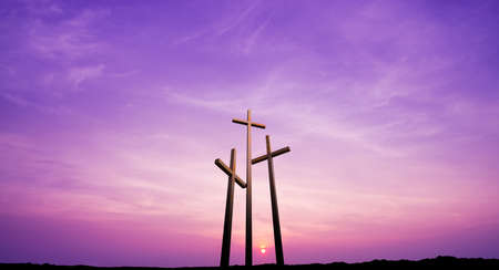 Three crosses on the mountain Golgotha representing the day of Christ?s crucifixion Stock Photo - 53847764