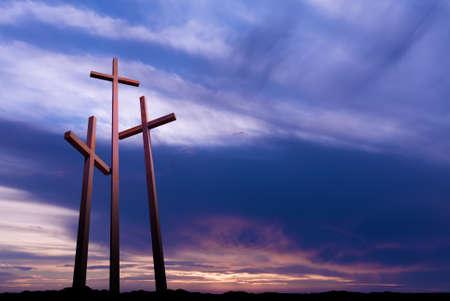 Drie kruisen op de berg Golgotha dat de dag van Christus 'kruisiging