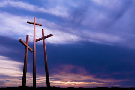 bible light: Three crosses on the mountain Golgotha representing the day of Christs crucifixion