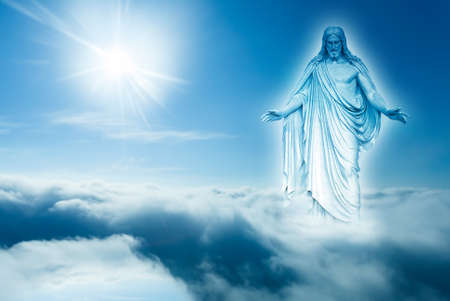 jesus clouds: God looks down from heaven horizontal image with copy space