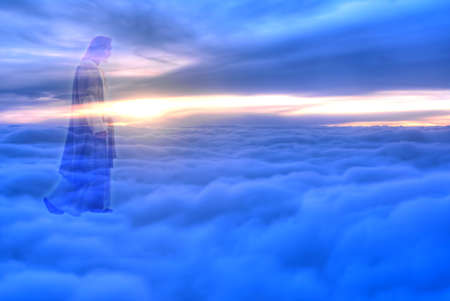 Jesus Christ in blue sky with clouds heaven