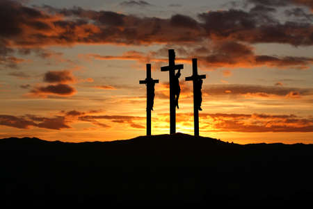 Three crosses on the mountain Golgotha representing the day of Christ?s crucifixion