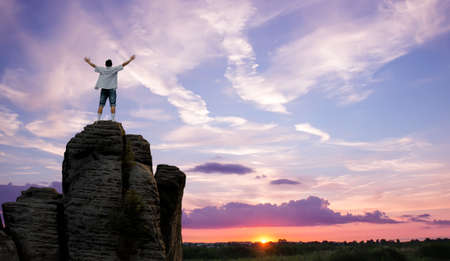 winner man: Man with arms raised in the sky, winner success concept Stock Photo
