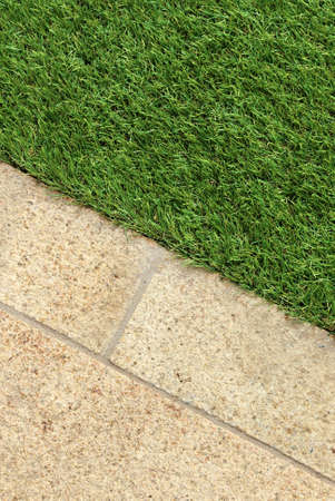 artificial flower: Combinations of concrete floor and green artificial grass landscaping design ideas