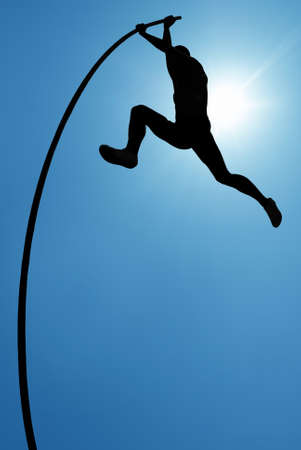 Long flexible pole held in the hands concept of risk taking and challenge
