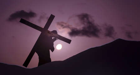 carrying the cross: Christ carrying cross up Calvary on Good Friday over bright sky