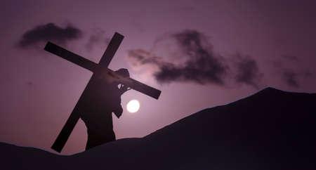 calvary: Christ carrying cross up Calvary on Good Friday over bright sky