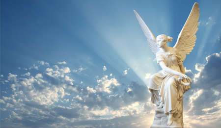 heaven light: Beautiful angel in heaven with divine rays of light