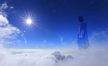 Jesus Christ in sky with clouds heaven