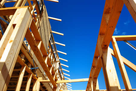 residential home: New residential construction home framing Stock Photo