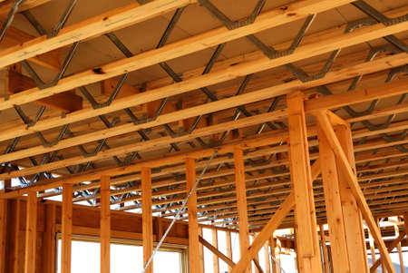 Steel web floor joists for Home Building Project Stock Photo