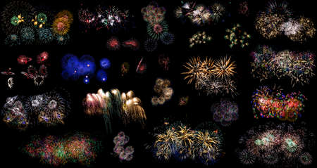 aerial bomb: Colorful holiday fireworks set over black sky background Stock Photo