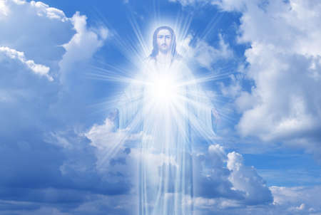Jesus Christ in sky with clouds heaven Imagens - 64991516
