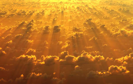 majestic: Aerial view of bright orange sky and clouds