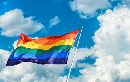 Rainbow Flag symbol of tolerance and acceptance Stock Photo