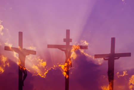 Three crosses on the mountain Golgotha representing the day of Christs crucifixion