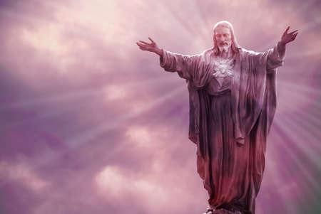 イエス ・ キリストの光光の宗教概念を天に 写真素材