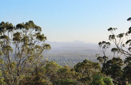 urban landscapes: Spectacular panoramic views over Brisbane from Mt. Coot-tha iconic destination Stock Photo