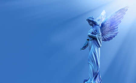 Magical angel in heaven inspiration from God with divine rays of sun light Foto de archivo