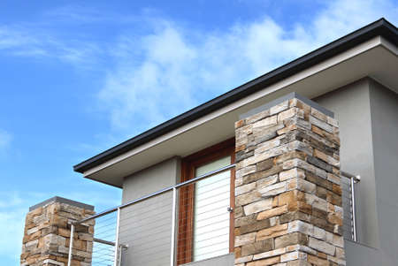 Modern architecture exterior details over blue sky with copy space