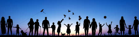 Panorama Collage Silhouettes of Families with Children Adults and Elderly Enjoying Outdoors Stock Photo
