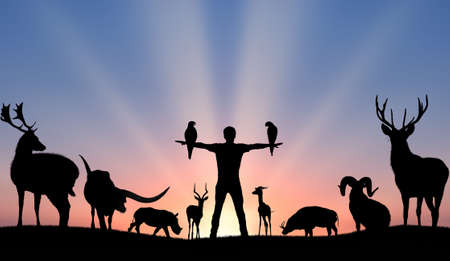 Silhouettes of girl and animals concept of harmony and uniting of wildlife and people Banque d'images