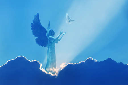 Angel as a spiritual being superior to humans in heaven with white dove