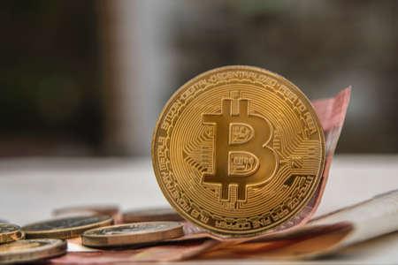 Bit coin and euro, finance concept Archivio Fotografico