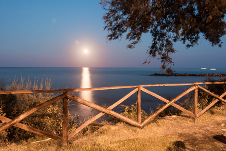 Full Moon in Torre Archirafi little village in east Sicily photo