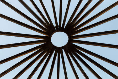 without window: Metal pattern in a window without glass Stock Photo