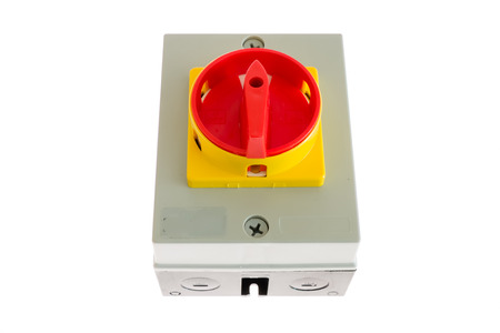 ampere: electrical Rotary switch 100 ampere with lock Stock Photo