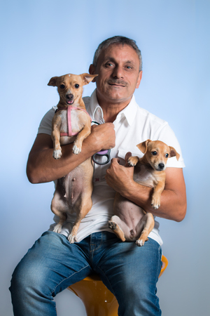 congenial: Man and dog Stock Photo