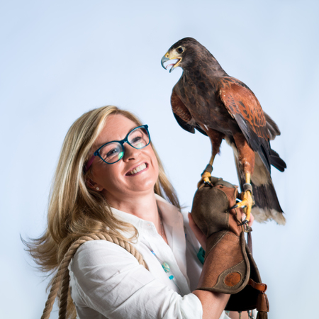 Woman and buzzard photo