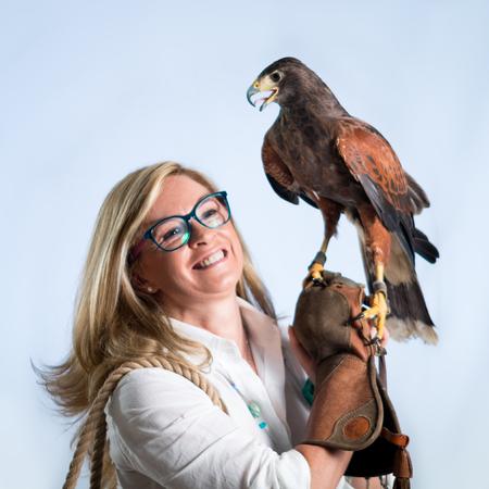 Woman and buzzard photo