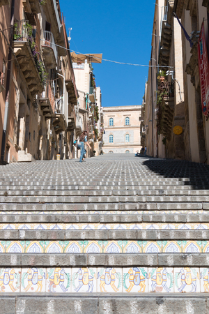 steps and staircases: Famous staircase of Caltagirone in Sicily known for ITS ceramics Stock Photo
