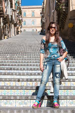steps and staircases: Famous staircase of Caltagirone in Sicily known for its ceramics