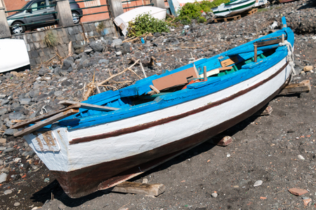 woden: Woden Boat on the beach of Capomulini Sicily