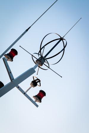 Antennas of loran and gps systems, and marine traffic light Foto de archivo