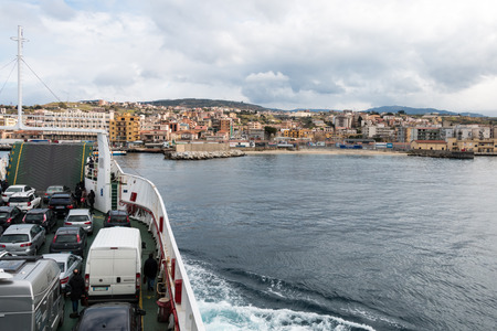 ferryboat: Ferryboat in messina from Italy to Sicily Strait of Sicily Stock Photo