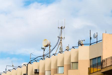 repeaters telephone antennas in Calabria Sicily Foto de archivo