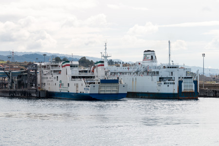 Ferryboat in messina from Italy to Sicily Strait of Sicily Editorial