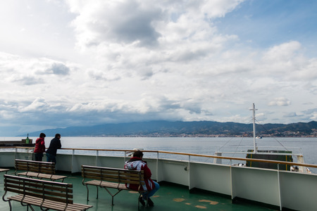 Ferryboat in messina from Italy to Sicily Strait of Sicily Foto de archivo