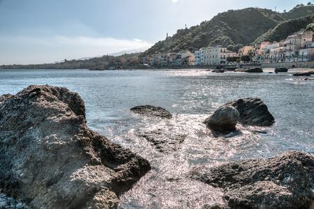 naxos: Giardini Naxos Taormina views in the spring Stock Photo