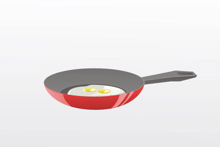 this is a vector illustration of a frying pan with the roasted eggs