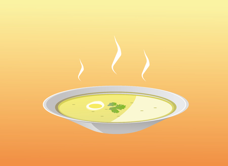 this is a vector illustration of a soup plate Stock Illustratie